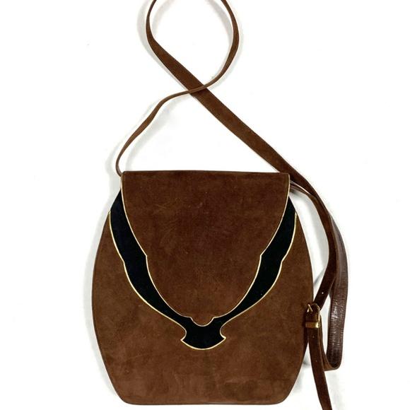 Bally Designer Vintage Suede Saddle Bag Purse